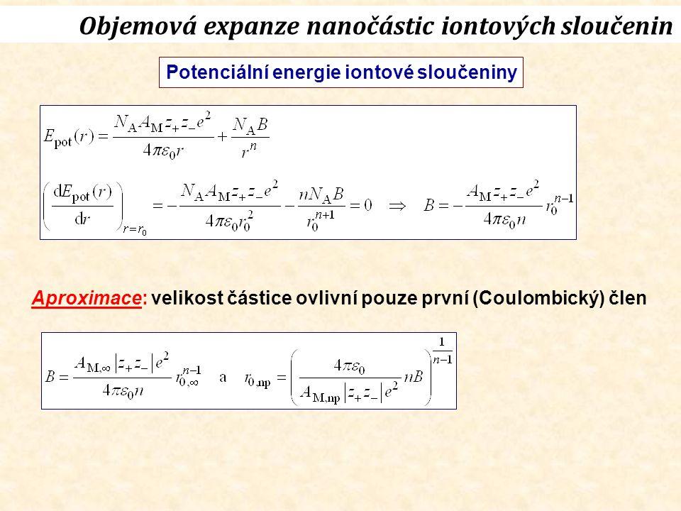 Objemová expanze nanočástic iontových sloučenin Potenciální energie iontové sloučeniny Aproximace: velikost částice ovlivní pouze první (Coulombický) člen