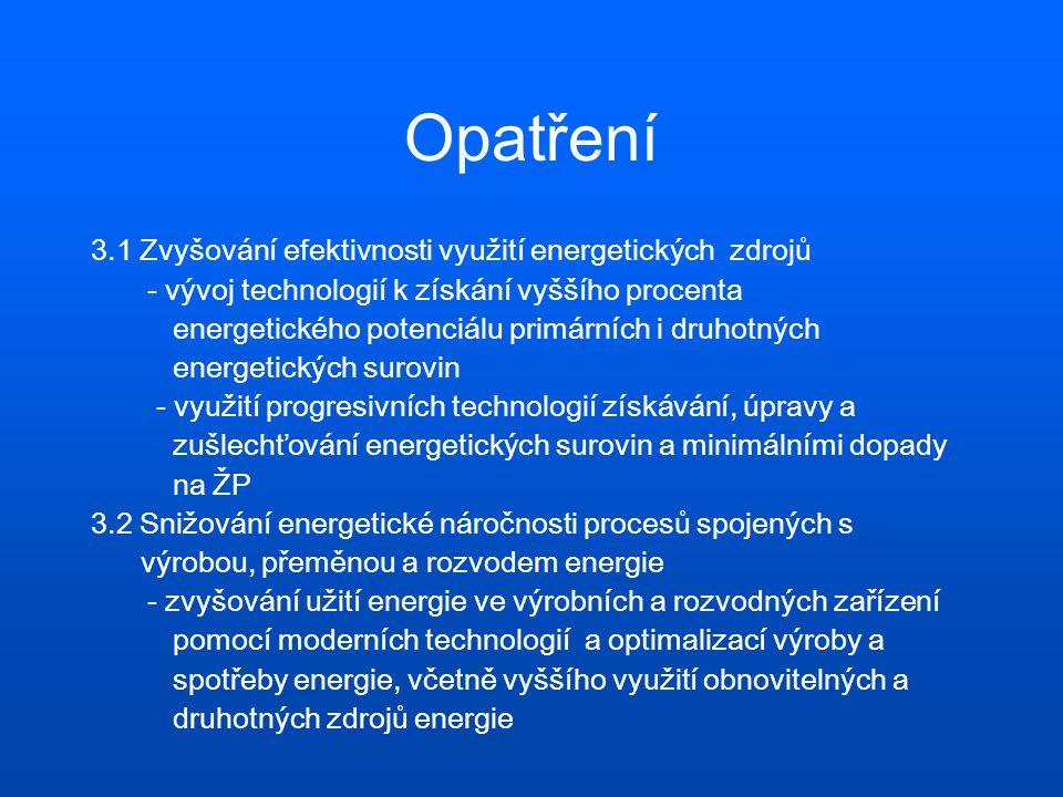 Opatření 3.3 Podpora opatření ke zvyšování účinnosti užití energie a snižování energetické náročnosti v průmyslu a průmyslových službách - podpora energeticky vědomé modernizaci energetického hospodářství, budov a provozního nebo výrobního zařízení průmyslových podniků s využitím energeticky úsporných technologií a matriálů - rozšíření energetického poradenství a osvěty