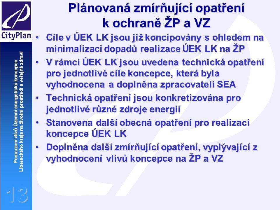 Posouzení vlivů Územní energetické koncepce Libereckého kraje na životní prostředí a veřejné zdraví 13 Plánovaná zmírňující opatření k ochraně ŽP a VZ Cíle v ÚEK LK jsou již koncipovány s ohledem na minimalizaci dopadů realizace ÚEK LK na ŽPCíle v ÚEK LK jsou již koncipovány s ohledem na minimalizaci dopadů realizace ÚEK LK na ŽP V rámci ÚEK LK jsou uvedena technická opatření pro jednotlivé cíle koncepce, která byla vyhodnocena a doplněna zpracovateli SEAV rámci ÚEK LK jsou uvedena technická opatření pro jednotlivé cíle koncepce, která byla vyhodnocena a doplněna zpracovateli SEA Technická opatření jsou konkretizována pro jednotlivé různé zdroje energiíTechnická opatření jsou konkretizována pro jednotlivé různé zdroje energií Stanovena další obecná opatření pro realizaci koncepce ÚEK LKStanovena další obecná opatření pro realizaci koncepce ÚEK LK Doplněna další zmírňující opatření, vyplývající z vyhodnocení vlivů koncepce na ŽP a VZDoplněna další zmírňující opatření, vyplývající z vyhodnocení vlivů koncepce na ŽP a VZ
