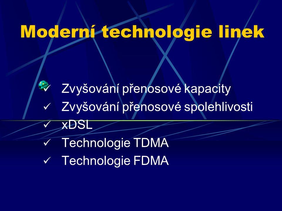 Moderní technologie linek Zvyšování přenosové kapacity Zvyšování přenosové spolehlivosti xDSL Technologie TDMA Technologie FDMA