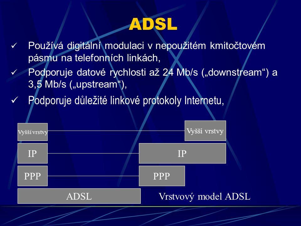 """xDSL Je to digitální linková technologie uplatňovaná v sítích WAN, Je určena pro běžné telefonní dvojlinky a umožňuje současný přenos hlasových služeb (POTS) i datový přenos digitální modulací, Existují varianty IDSL, HDSL, VDSL, SDSL (symetrická) a ADSL (asymetrická), kdy zejména pro Internetová připojení se ustálila varianta asymetrická, Asymetrická varianta má rozdílnou přenosovou rychlost k uživateli (""""downstream ), která je vyšší, než od uživatele (""""upstream )."""