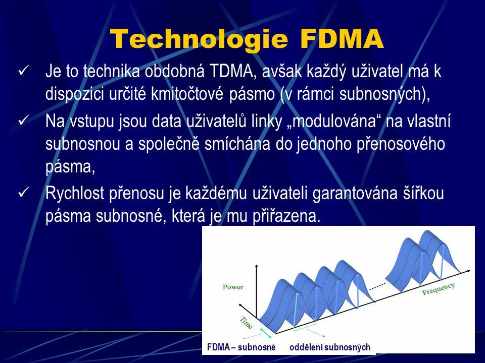 Technologie TDMA Výhody TDMA: Násobné využití dražších médií, Snížení nákladů na budování linek, Možnost diskrétní změny přenosových rychlostí podle požadavku uživatelů linky (slučování slotů), Garance přenosové rychlosti i dostupnosti linky.