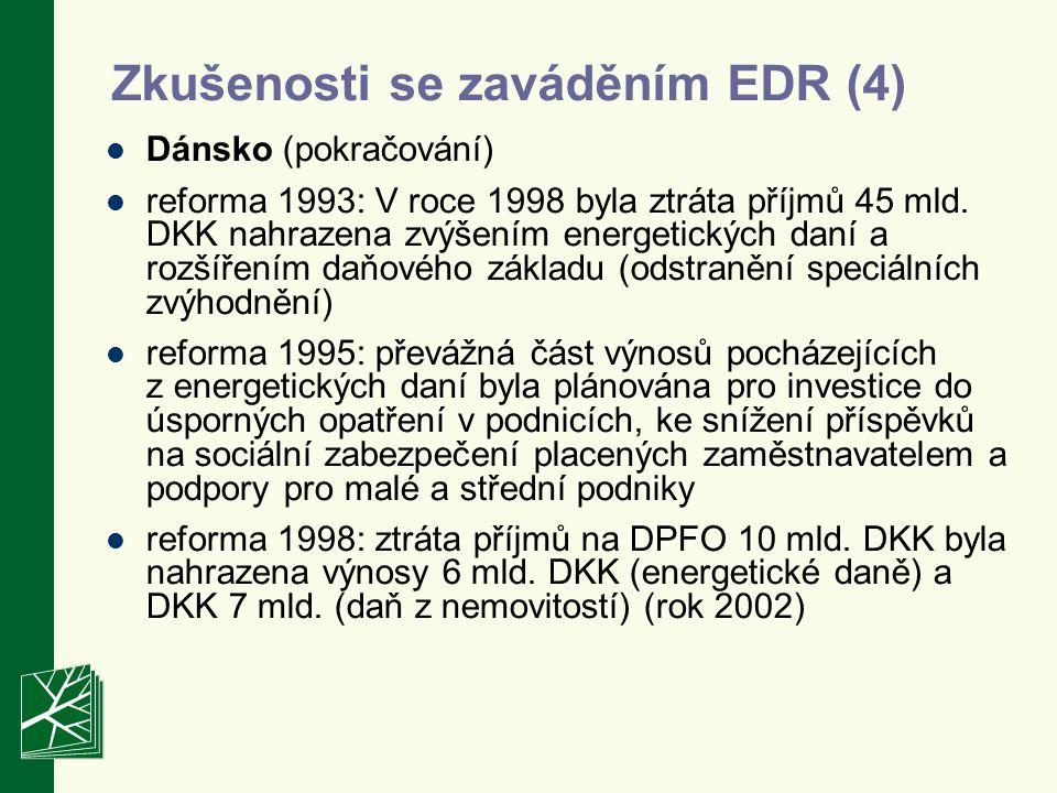 Zkušenosti se zaváděním EDR (4) Dánsko (pokračování) reforma 1993: V roce 1998 byla ztráta příjmů 45 mld.