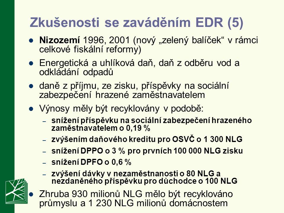 """Zkušenosti se zaváděním EDR (5) Nizozemí 1996, 2001 (nový """"zelený balíček v rámci celkové fiskální reformy) Energetická a uhlíková daň, daň z odběru vod a odkládání odpadů daně z příjmu, ze zisku, příspěvky na sociální zabezpečení hrazené zaměstnavatelem Výnosy měly být recyklovány v podobě: – snížení příspěvku na sociální zabezpečení hrazeného zaměstnavatelem o 0,19 % – zvýšením daňového kreditu pro OSVČ o 1 300 NLG – snížení DPPO o 3 % pro prvních 100 000 NLG zisku – snížení DPFO o 0,6 % – zvýšení dávky v nezaměstnanosti o 80 NLG a nezdaněného příspěvku pro důchodce o 100 NLG Zhruba 930 milionů NLG mělo být recyklováno průmyslu a 1 230 NLG milionů domácnostem"""