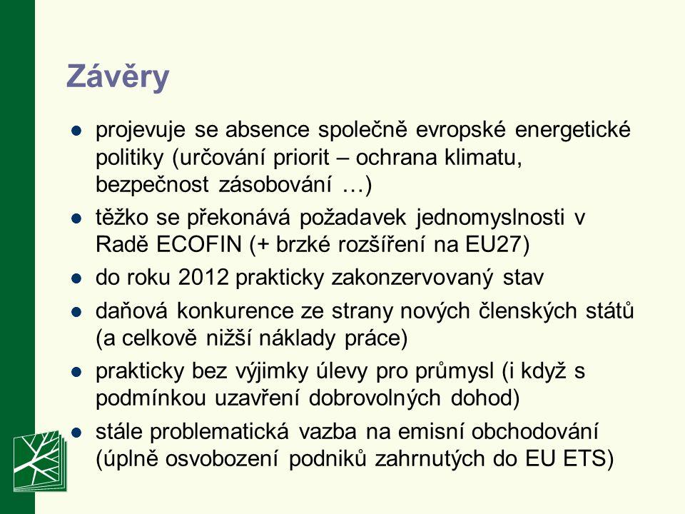 Závěry projevuje se absence společně evropské energetické politiky (určování priorit – ochrana klimatu, bezpečnost zásobování …) těžko se překonává požadavek jednomyslnosti v Radě ECOFIN (+ brzké rozšíření na EU27) do roku 2012 prakticky zakonzervovaný stav daňová konkurence ze strany nových členských států (a celkově nižší náklady práce) prakticky bez výjimky úlevy pro průmysl (i když s podmínkou uzavření dobrovolných dohod) stále problematická vazba na emisní obchodování (úplně osvobození podniků zahrnutých do EU ETS)