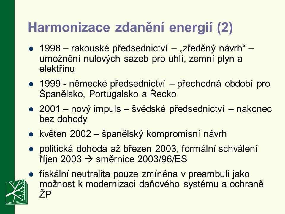 """Harmonizace zdanění energií (2) 1998 – rakouské předsednictví – """"zředěný návrh – umožnění nulových sazeb pro uhlí, zemní plyn a elektřinu 1999 - německé předsednictví – přechodná období pro Španělsko, Portugalsko a Řecko 2001 – nový impuls – švédské předsednictví – nakonec bez dohody květen 2002 – španělský kompromisní návrh politická dohoda až březen 2003, formální schválení říjen 2003  směrnice 2003/96/ES fiskální neutralita pouze zmíněna v preambuli jako možnost k modernizaci daňového systému a ochraně ŽP"""