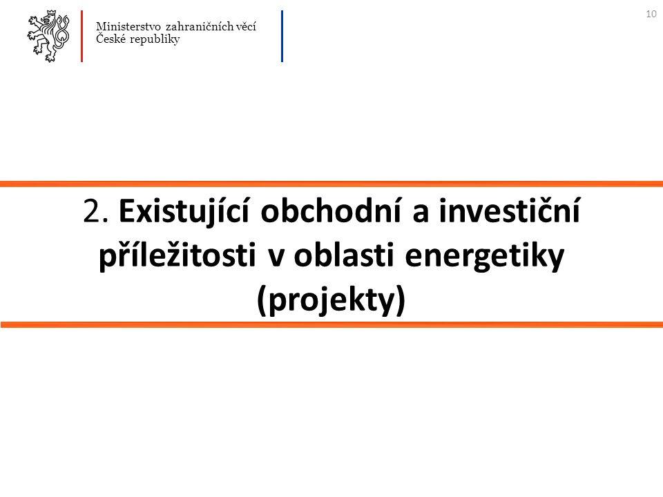 2. Existující obchodní a investiční příležitosti v oblasti energetiky (projekty) Ministerstvo zahraničních věcí České republiky 10