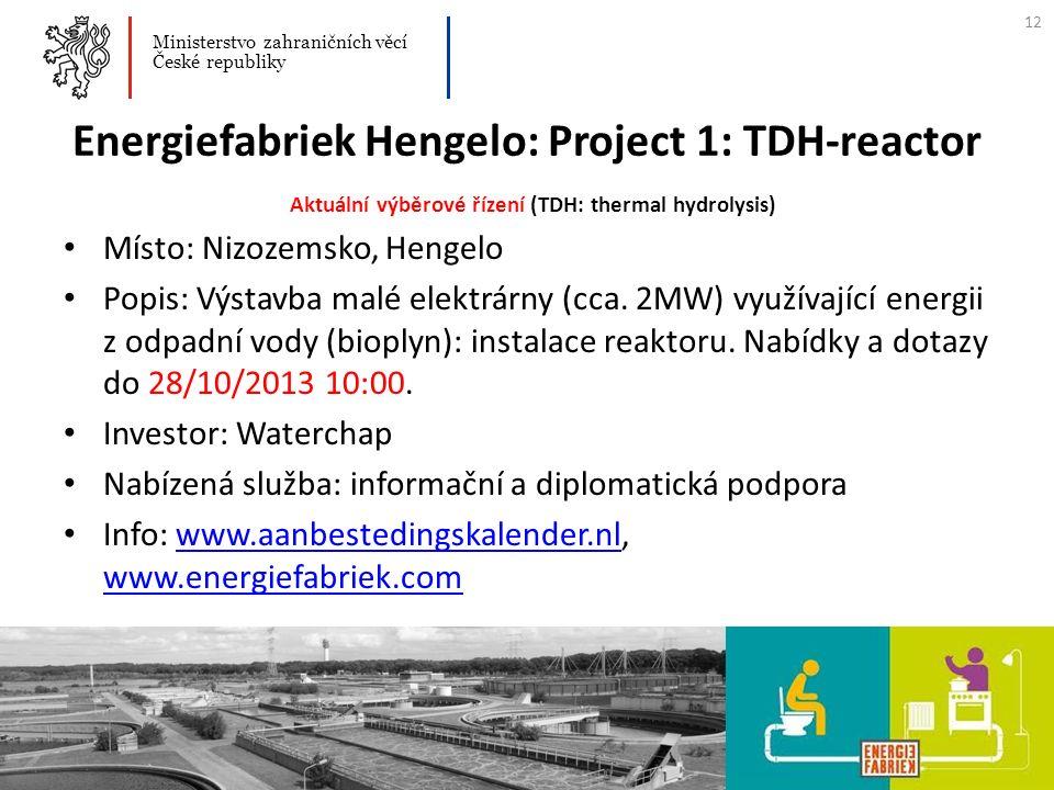 Energiefabriek Hengelo: Project 1: TDH-reactor Aktuální výběrové řízení (TDH: thermal hydrolysis) Místo: Nizozemsko, Hengelo Popis: Výstavba malé elek