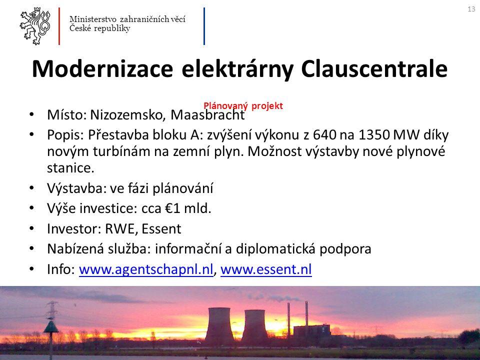Modernizace elektrárny Clauscentrale Plánovaný projekt Místo: Nizozemsko, Maasbracht Popis: Přestavba bloku A: zvýšení výkonu z 640 na 1350 MW díky no
