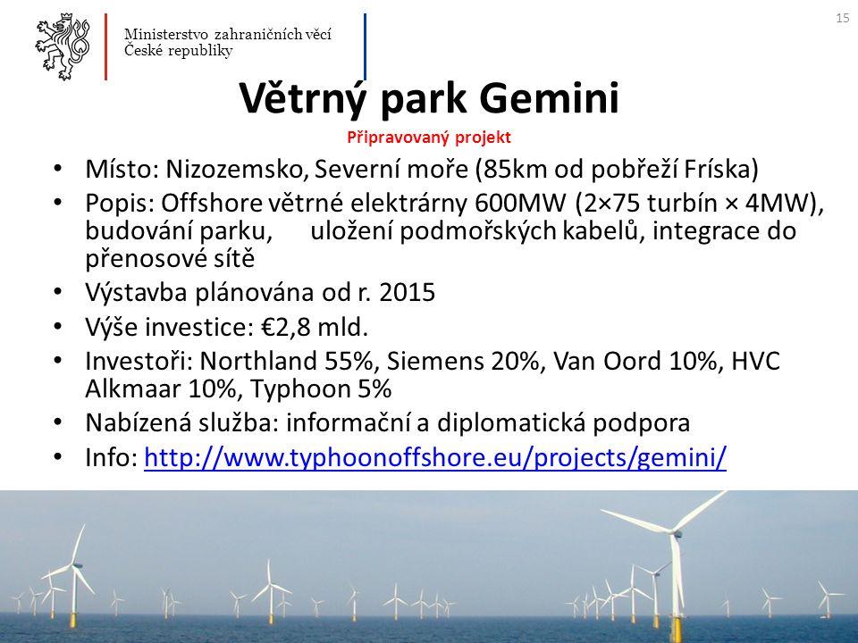 Větrný park Gemini Připravovaný projekt Místo: Nizozemsko, Severní moře (85km od pobřeží Fríska) Popis: Offshore větrné elektrárny 600MW (2×75 turbín
