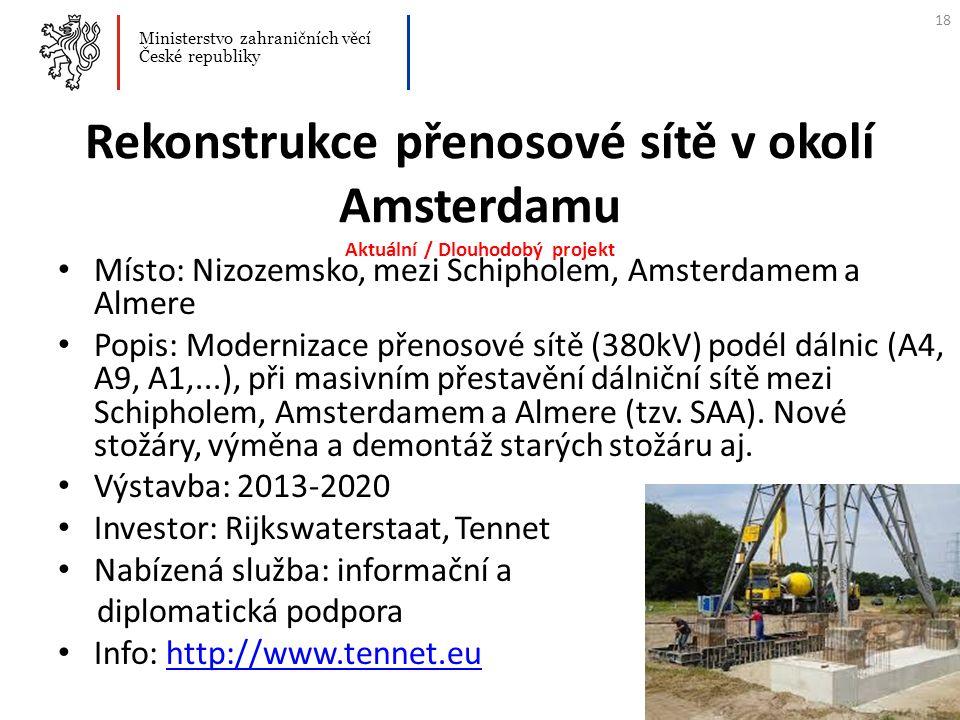 Rekonstrukce přenosové sítě v okolí Amsterdamu Aktuální / Dlouhodobý projekt Místo: Nizozemsko, mezi Schipholem, Amsterdamem a Almere Popis: Moderniza