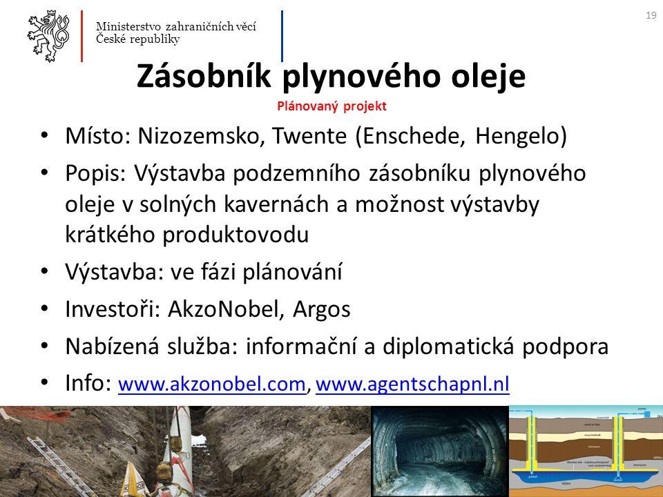 Zásobník plynového oleje Plánovaný projekt Místo: Nizozemsko, Twente (Enschede, Hengelo) Popis: Výstavba podzemního zásobníku plynového oleje v solnýc