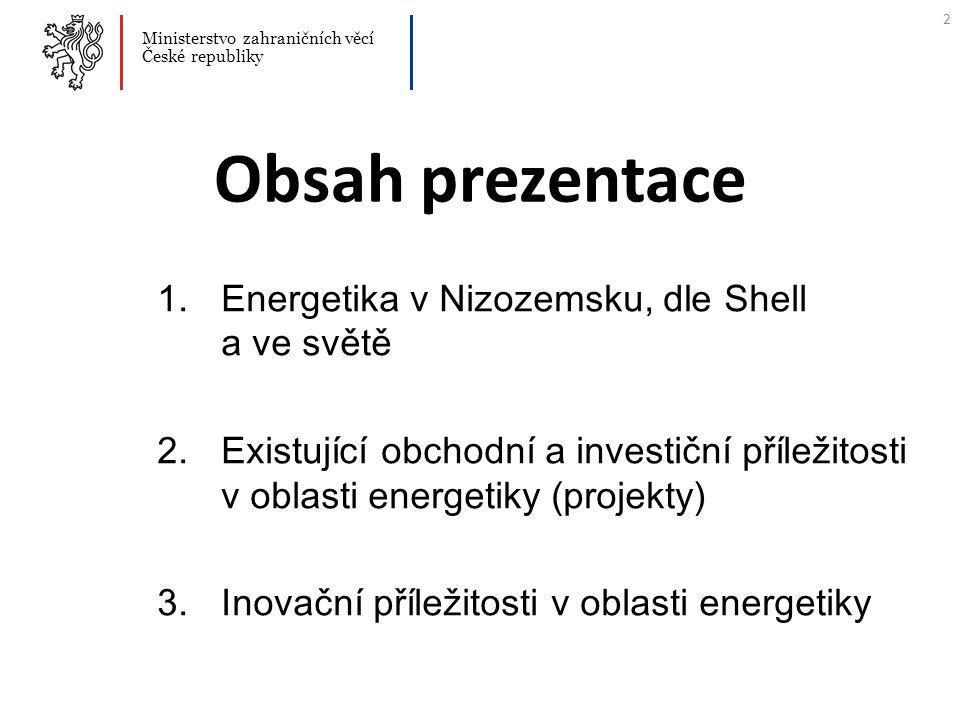 Obsah prezentace 1.Energetika v Nizozemsk u, dle Shell a ve světě 2.Existující obchodní a investiční příležitosti v oblasti energetiky (projekty) 3.In