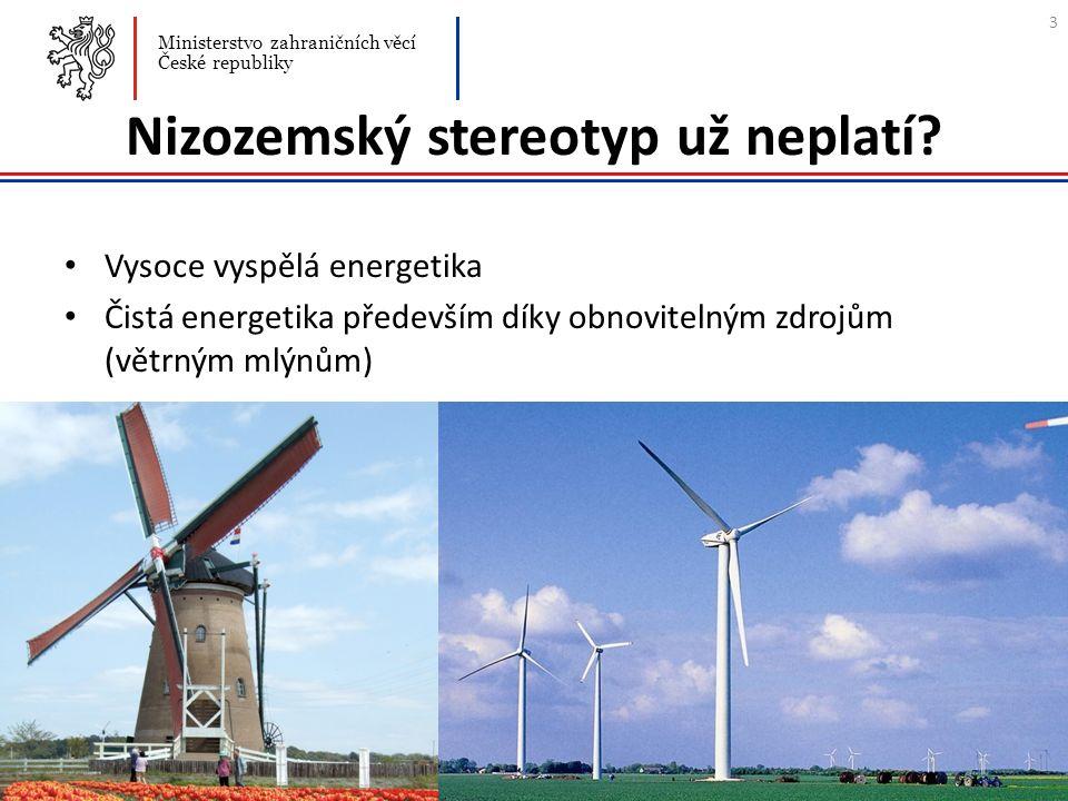 Nizozemský stereotyp už neplatí? Vysoce vyspělá energetika Čistá energetika především díky obnovitelným zdrojům (větrným mlýnům) Ministerstvo zahranič