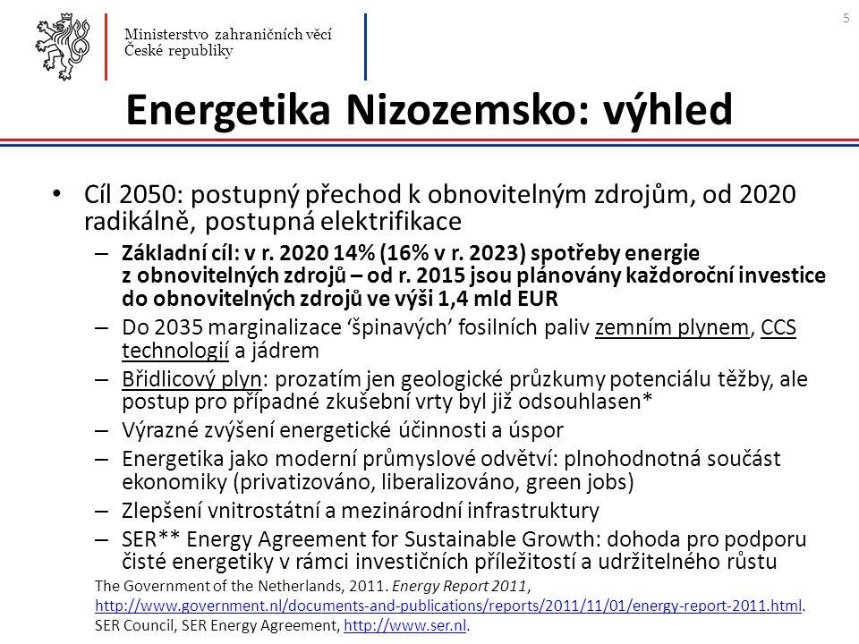 Energetika Nizozemsko: výhled Cíl 2050: postupný přechod k obnovitelným zdrojům, od 2020 radikálně, postupná elektrifikace – Základní cíl: v r. 2020 1