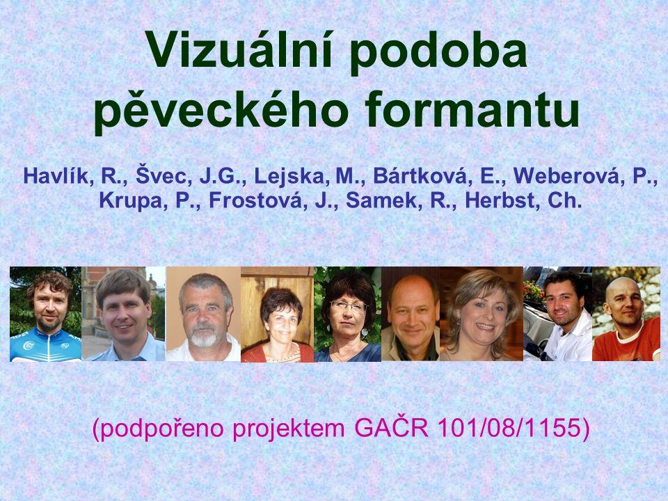 Vizuální podoba pěveckého formantu Havlík, R., Švec, J.G., Lejska, M., Bártková, E., Weberová, P., Krupa, P., Frostová, J., Samek, R., Herbst, Ch. (po