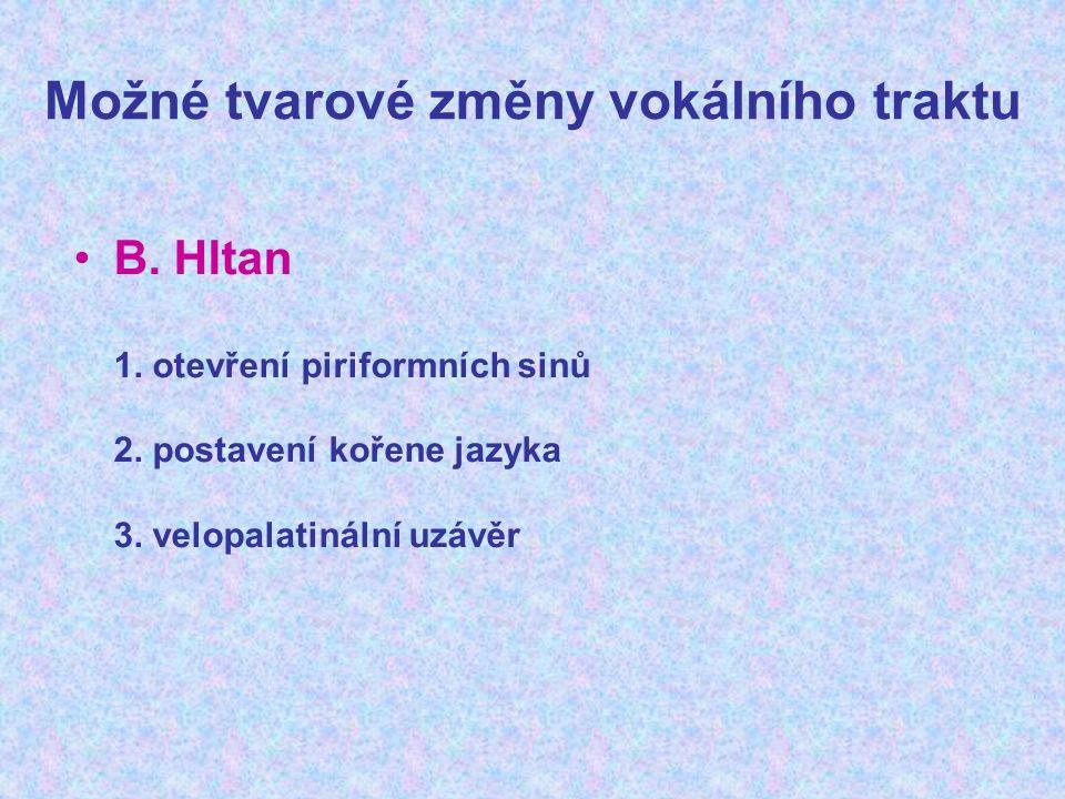 Možné tvarové změny vokálního traktu B. Hltan 1. otevření piriformních sinů 2. postavení kořene jazyka 3. velopalatinální uzávěr