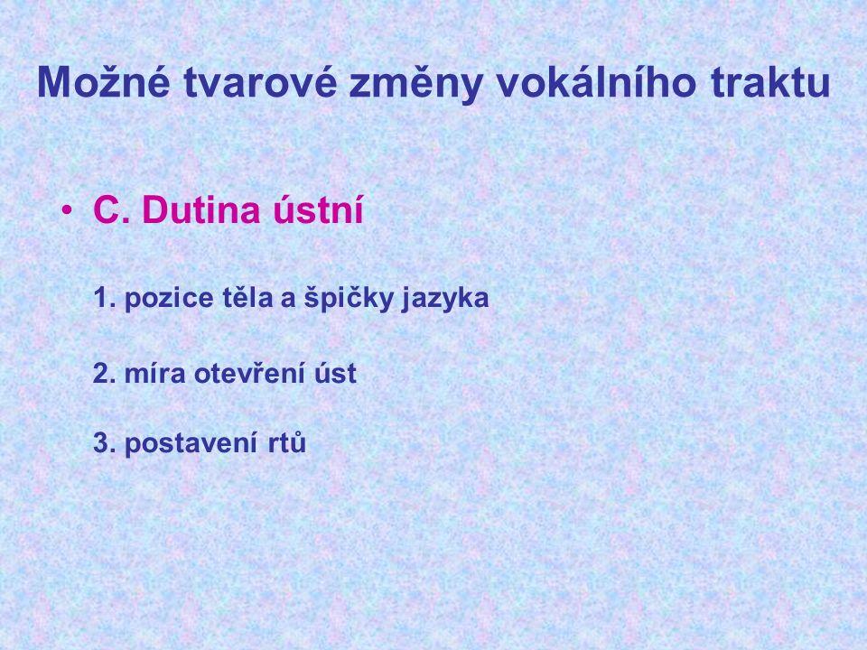 Možné tvarové změny vokálního traktu C. Dutina ústní 1.