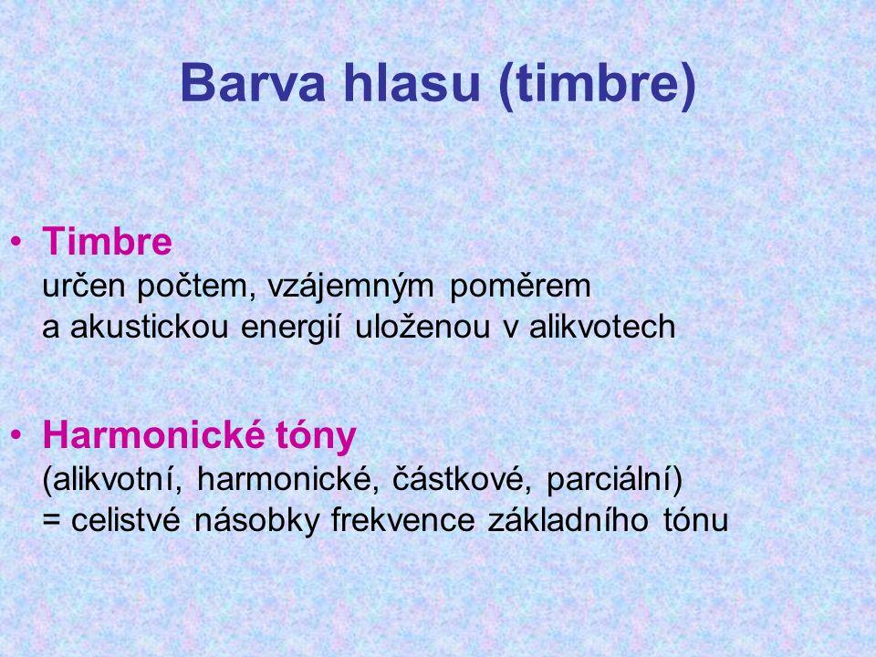 Barva hlasu (timbre) Timbre určen počtem, vzájemným poměrem a akustickou energií uloženou v alikvotech Harmonické tóny (alikvotní, harmonické, částkové, parciální) = celistvé násobky frekvence základního tónu