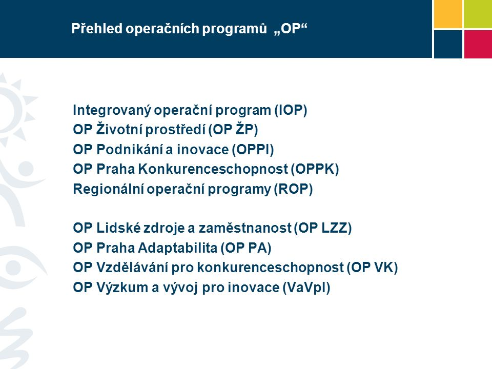 Integrovaný operační program Podporované aktivity/operace v rámci 3.2 IOP -Služby v oblasti veřejného zdraví 3.2a Modernizace a obnova přístrojového vybavení (zdravotnických prostředků) národních sítí zdravotnických zařízení včetně technického zázemí (traumatologie, onkologie, kardiologie, popáleninová centra, kardiologie) 3.2b Systémová opatření v oblasti prevence zdravotních rizik obyvatelstva a prevence sociálního vyloučení osob znevýhodněných jejich zdravotním stavem nebo věkem 3.2c Řízení kvality a nákladovosti systému veřejného zdraví (inovativní zařízení pro měření, hodnocení kvality a nákladovosti péče)
