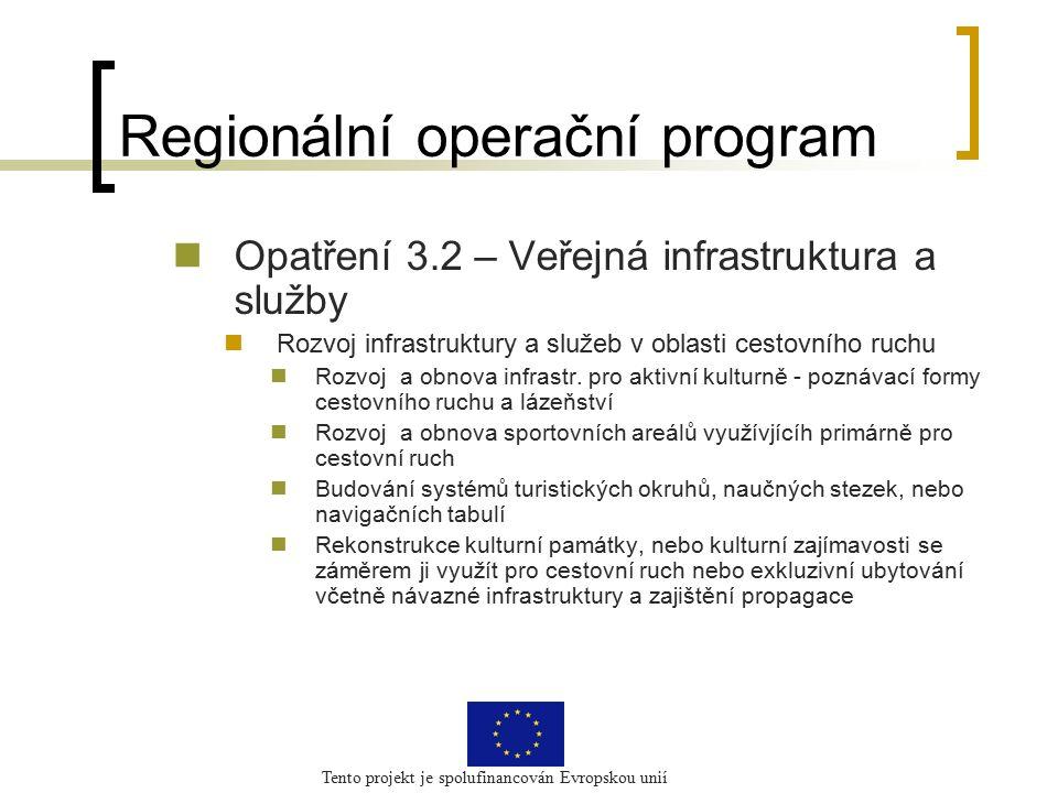Tento projekt je spolufinancován Evropskou unií Regionální operační program Opatření 3.2 – Veřejná infrastruktura a služby Rozvoj infrastruktury a služeb v oblasti cestovního ruchu Rozvoj a obnova infrastr.