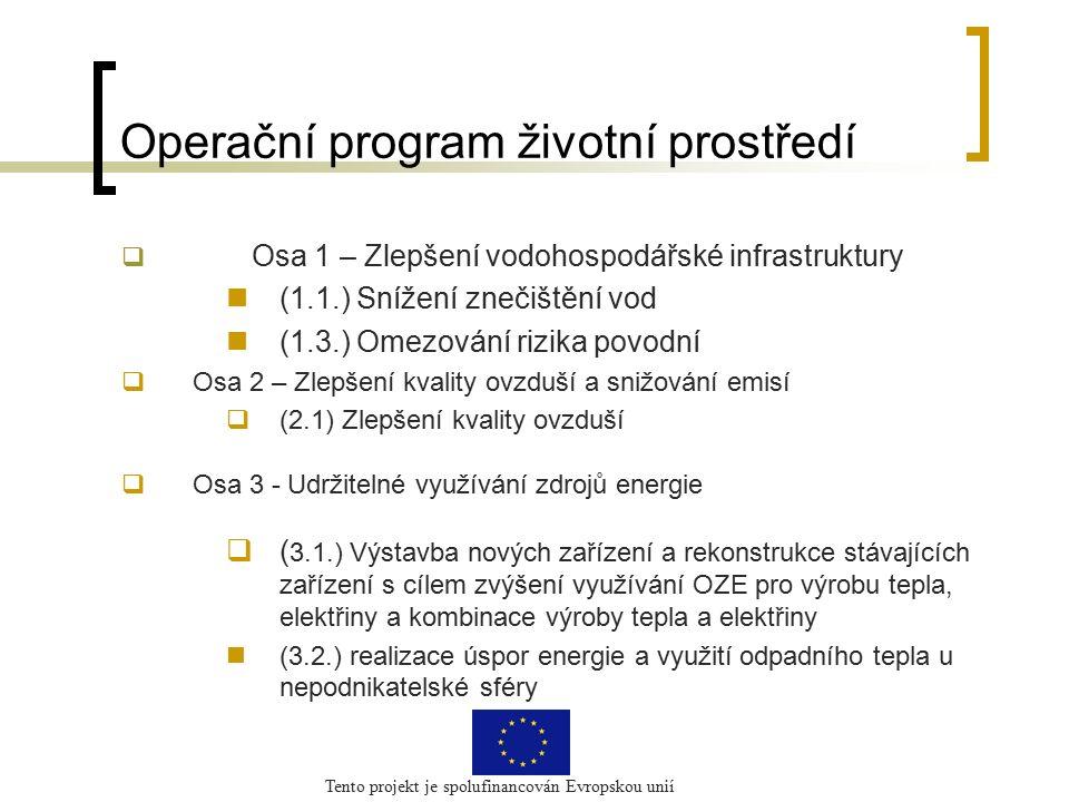 Tento projekt je spolufinancován Evropskou unií Operační program životní prostředí  Osa 1 – Zlepšení vodohospodářské infrastruktury (1.1.) Snížení znečištění vod (1.3.) Omezování rizika povodní  Osa 2 – Zlepšení kvality ovzduší a snižování emisí  (2.1) Zlepšení kvality ovzduší  Osa 3 - Udržitelné využívání zdrojů energie  ( 3.1.) Výstavba nových zařízení a rekonstrukce stávajících zařízení s cílem zvýšení využívání OZE pro výrobu tepla, elektřiny a kombinace výroby tepla a elektřiny (3.2.) realizace úspor energie a využití odpadního tepla u nepodnikatelské sféry