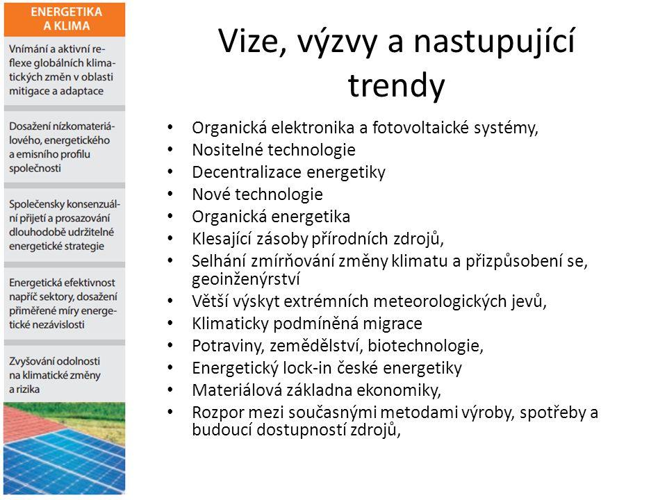 Vize, výzvy a nastupující trendy Organická elektronika a fotovoltaické systémy, Nositelné technologie Decentralizace energetiky Nové technologie Organ