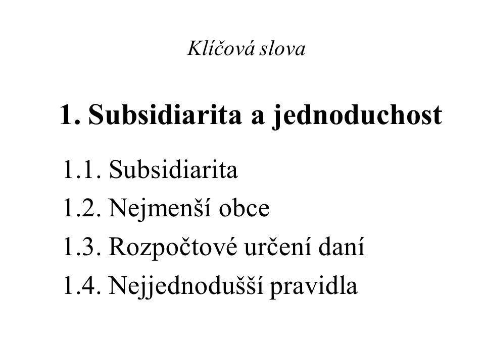 Klíčová slova 1. Subsidiarita a jednoduchost 1.1. Subsidiarita 1.2. Nejmenší obce 1.3. Rozpočtové určení daní 1.4. Nejjednodušší pravidla
