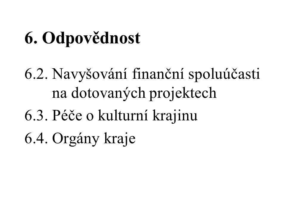 6. Odpovědnost 6.2. Navyšování finanční spoluúčasti na dotovaných projektech 6.3. Péče o kulturní krajinu 6.4. Orgány kraje