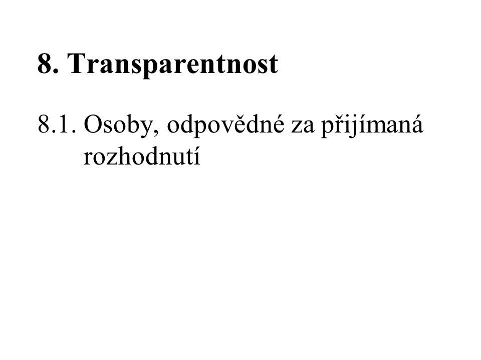 8. Transparentnost 8.1. Osoby, odpovědné za přijímaná rozhodnutí