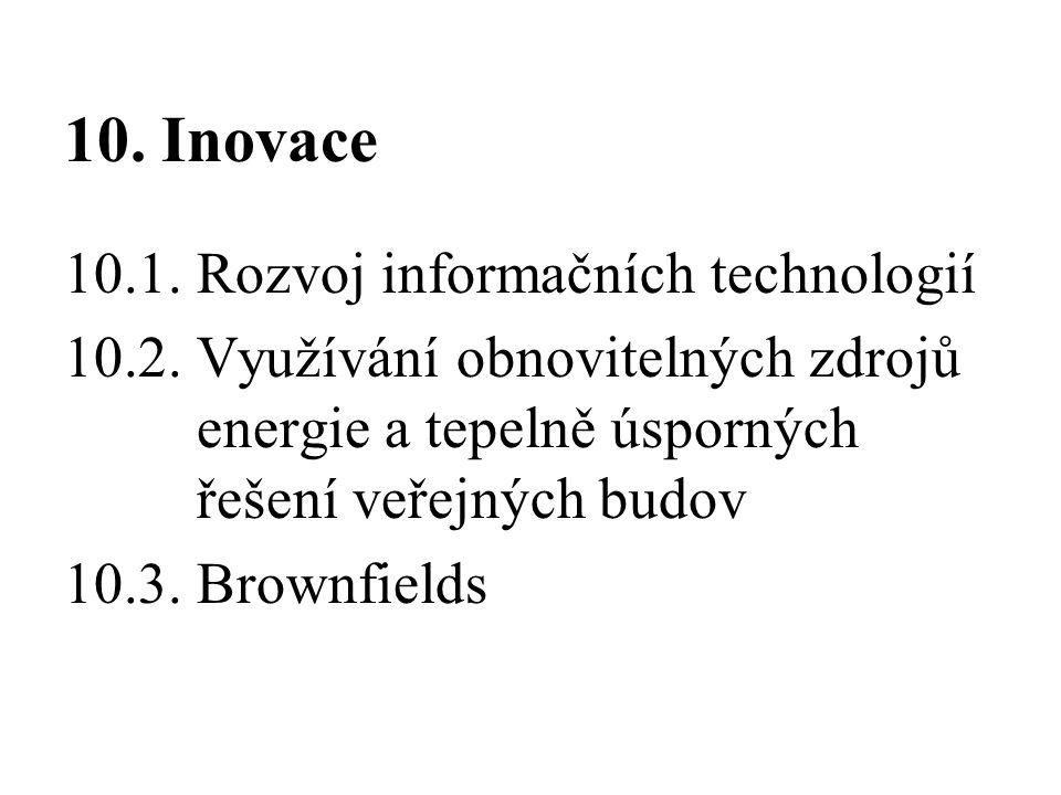 10. Inovace 10.1. Rozvoj informačních technologií 10.2. Využívání obnovitelných zdrojů energie a tepelně úsporných řešení veřejných budov 10.3. Brownf