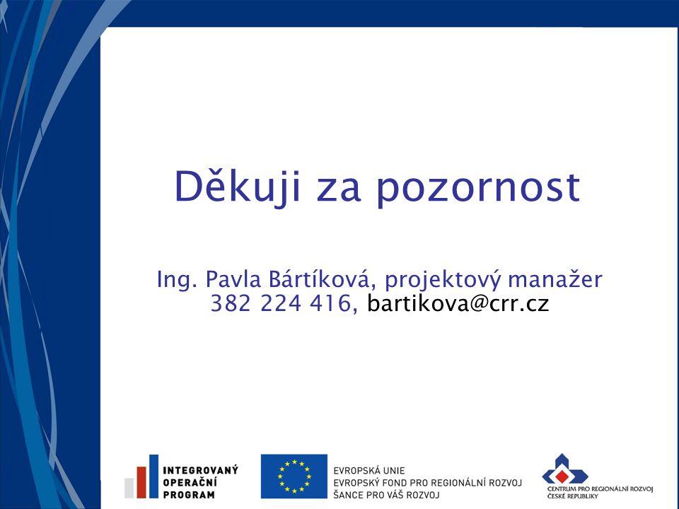 Děkuji za pozornost Ing. Pavla Bártíková, projektový manažer 382 224 416, bartikova@crr.cz