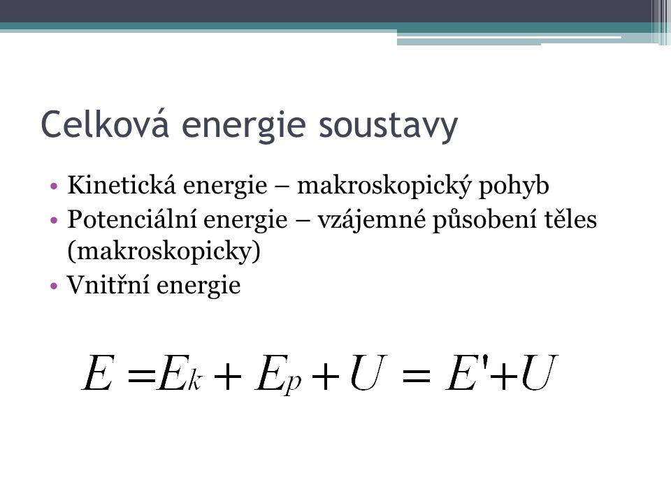 Celková energie soustavy Kinetická energie – makroskopický pohyb Potenciální energie – vzájemné působení těles (makroskopicky) Vnitřní energie