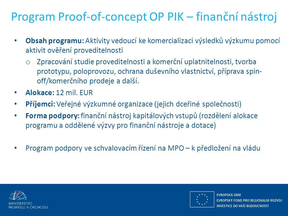 Program Proof-of-concept OP PIK – finanční nástroj Obsah programu: Aktivity vedoucí ke komercializaci výsledků výzkumu pomocí aktivit ověření proveditelnosti o Zpracování studie proveditelnosti a komerční uplatnitelnosti, tvorba prototypu, poloprovozu, ochrana duševního vlastnictví, příprava spin- off/komerčního prodeje a další.