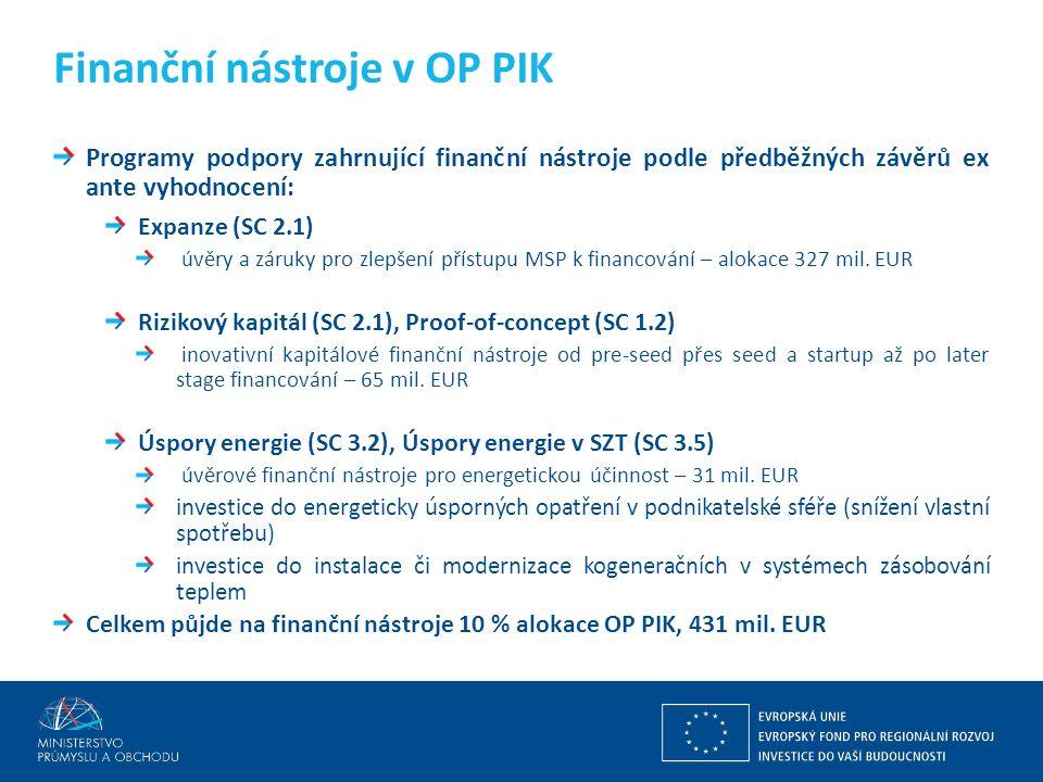 Programy podpory zahrnující finanční nástroje podle předběžných závěrů ex ante vyhodnocení: Expanze (SC 2.1) úvěry a záruky pro zlepšení přístupu MSP k financování – alokace 327 mil.