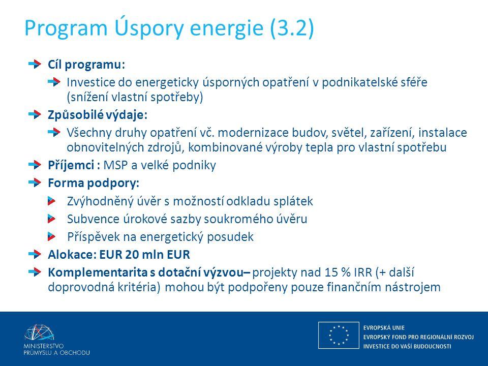 Program Úspory energie (3.2) Cíl programu: Investice do energeticky úsporných opatření v podnikatelské sféře (snížení vlastní spotřeby) Způsobilé výdaje: Všechny druhy opatření vč.