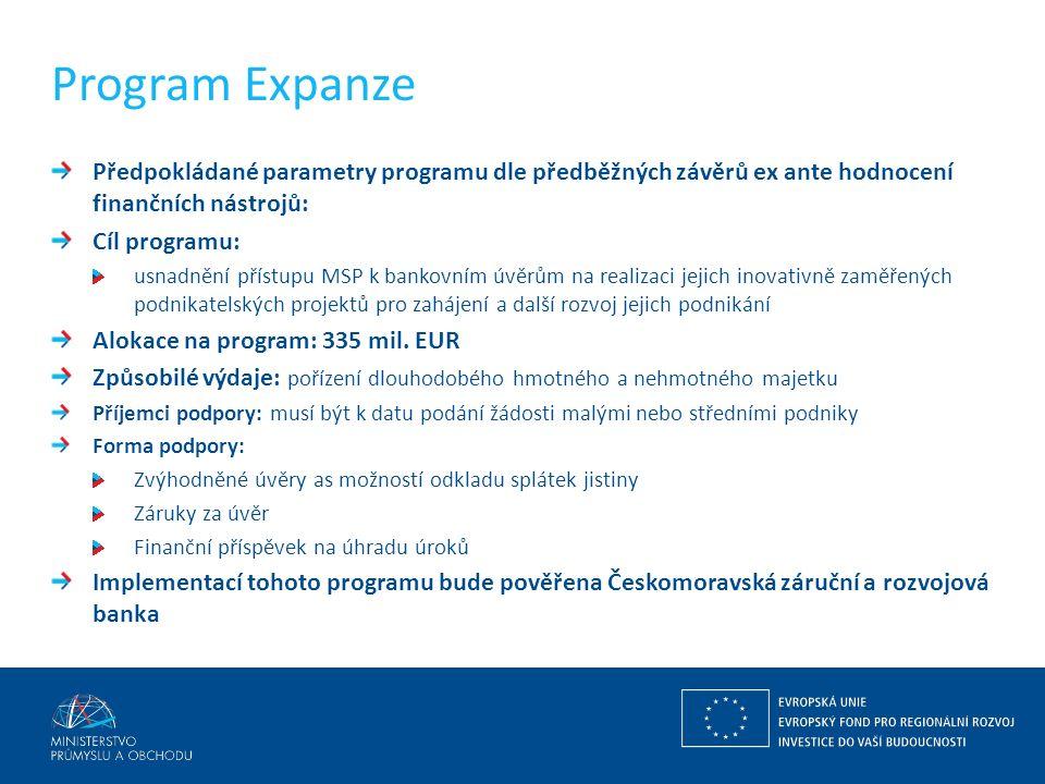 Program Expanze Předpokládané parametry programu dle předběžných závěrů ex ante hodnocení finančních nástrojů: Cíl programu: usnadnění přístupu MSP k bankovním úvěrům na realizaci jejich inovativně zaměřených podnikatelských projektů pro zahájení a další rozvoj jejich podnikání Alokace na program: 335 mil.