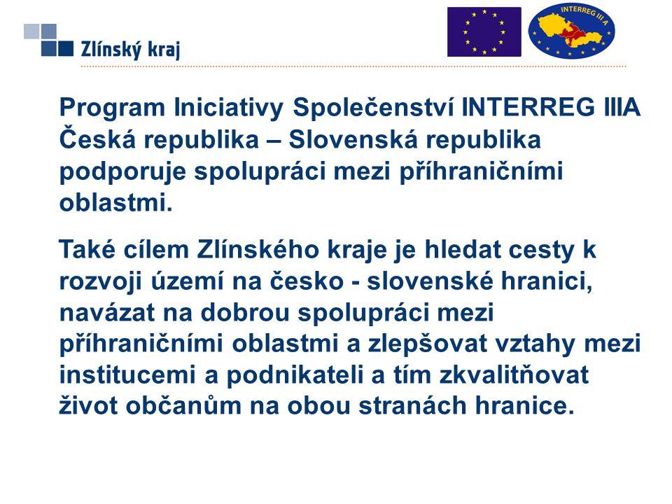 Program Iniciativy Společenství INTERREG IIIA Česká republika – Slovenská republika podporuje spolupráci mezi příhraničními oblastmi.
