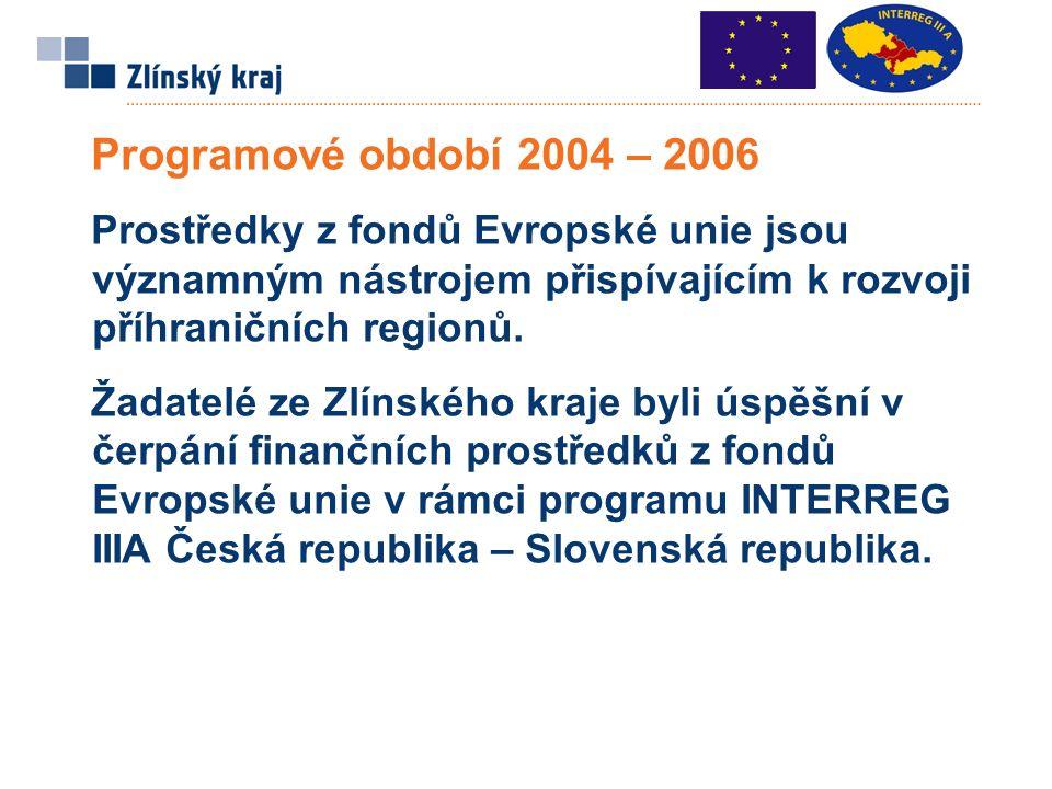 Programové období 2004 – 2006 Prostředky z fondů Evropské unie jsou významným nástrojem přispívajícím k rozvoji příhraničních regionů.