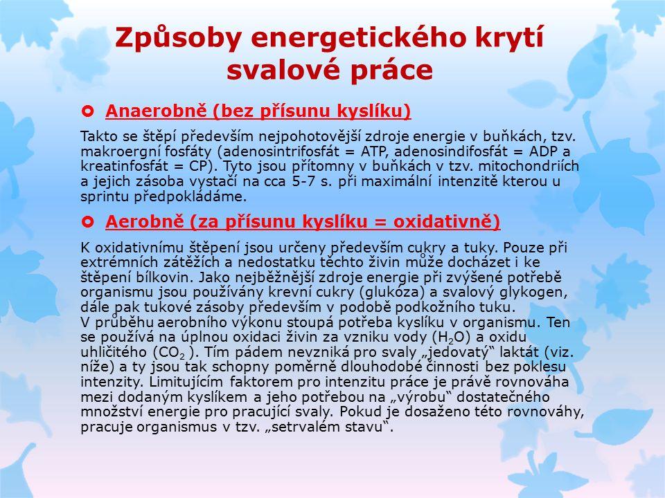 Způsoby energetického krytí svalové práce  Anaerobně (bez přísunu kyslíku) Takto se štěpí především nejpohotovější zdroje energie v buňkách, tzv.