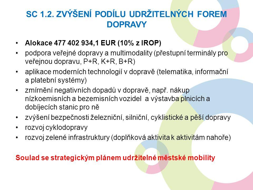 Alokace 477 402 934,1 EUR (10% z IROP) podpora veřejné dopravy a multimodality (přestupní terminály pro veřejnou dopravu, P+R, K+R, B+R) aplikace moderních technologií v dopravě (telematika, informační a platební systémy) zmírnění negativních dopadů v dopravě, např.