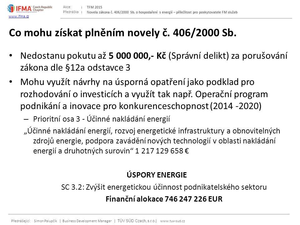 Přednáška Akce: Přednášející: Simon Palupčík | Business Development Manager | TÜV SÜD Czech, s.r.o.| www.tuv-sud.cz TFM 2015 www.ifma.cz Novela zákona č.