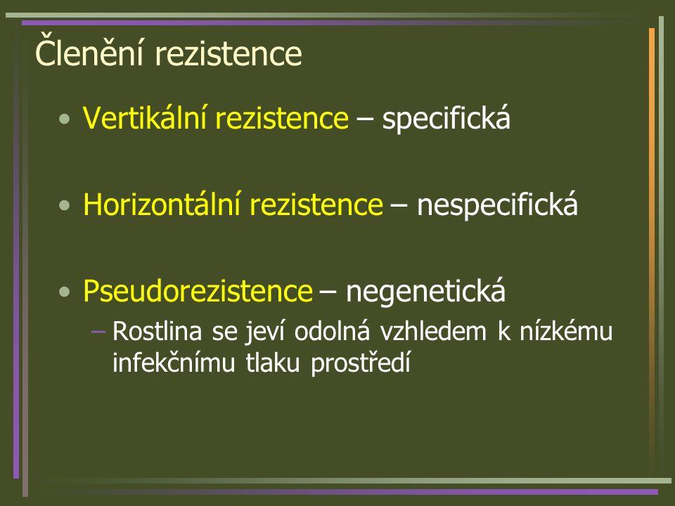 Členění rezistence Vertikální rezistence – specifická Horizontální rezistence – nespecifická Pseudorezistence – negenetická –Rostlina se jeví odolná v