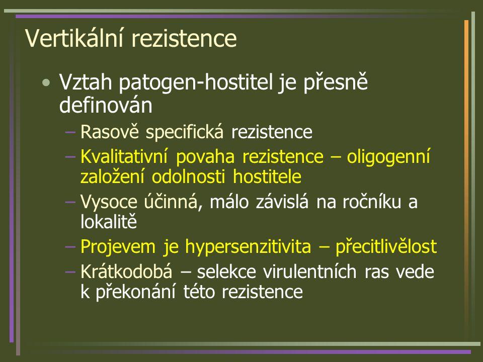 Vertikální rezistence Vztah patogen-hostitel je přesně definován –Rasově specifická rezistence –Kvalitativní povaha rezistence – oligogenní založení o
