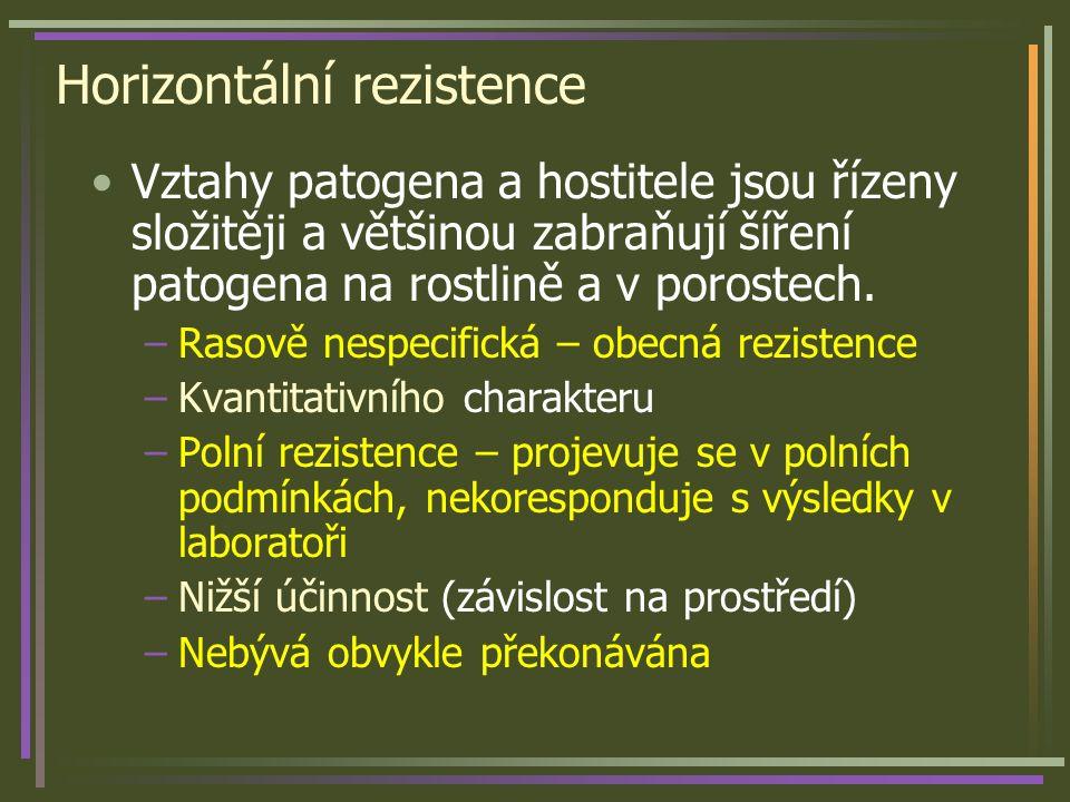 Horizontální rezistence Vztahy patogena a hostitele jsou řízeny složitěji a většinou zabraňují šíření patogena na rostlině a v porostech. –Rasově nesp