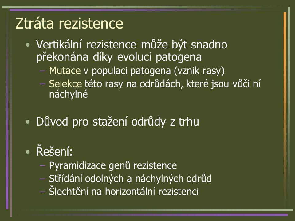 Ztráta rezistence Vertikální rezistence může být snadno překonána díky evoluci patogena –Mutace v populaci patogena (vznik rasy) –Selekce této rasy na