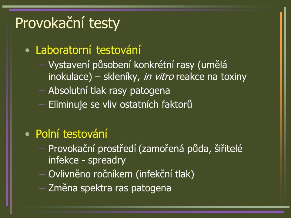 Provokační testy Laboratorní testování –Vystavení působení konkrétní rasy (umělá inokulace) – skleníky, in vitro reakce na toxiny –Absolutní tlak rasy patogena –Eliminuje se vliv ostatních faktorů Polní testování –Provokační prostředí (zamořená půda, šiřitelé infekce - spreadry –Ovlivněno ročníkem (infekční tlak) –Změna spektra ras patogena