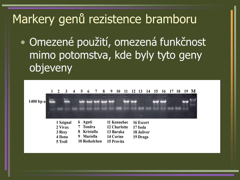 Markery genů rezistence bramboru Omezené použití, omezená funkčnost mimo potomstva, kde byly tyto geny objeveny