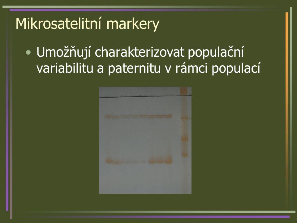 Mikrosatelitní markery Umožňují charakterizovat populační variabilitu a paternitu v rámci populací