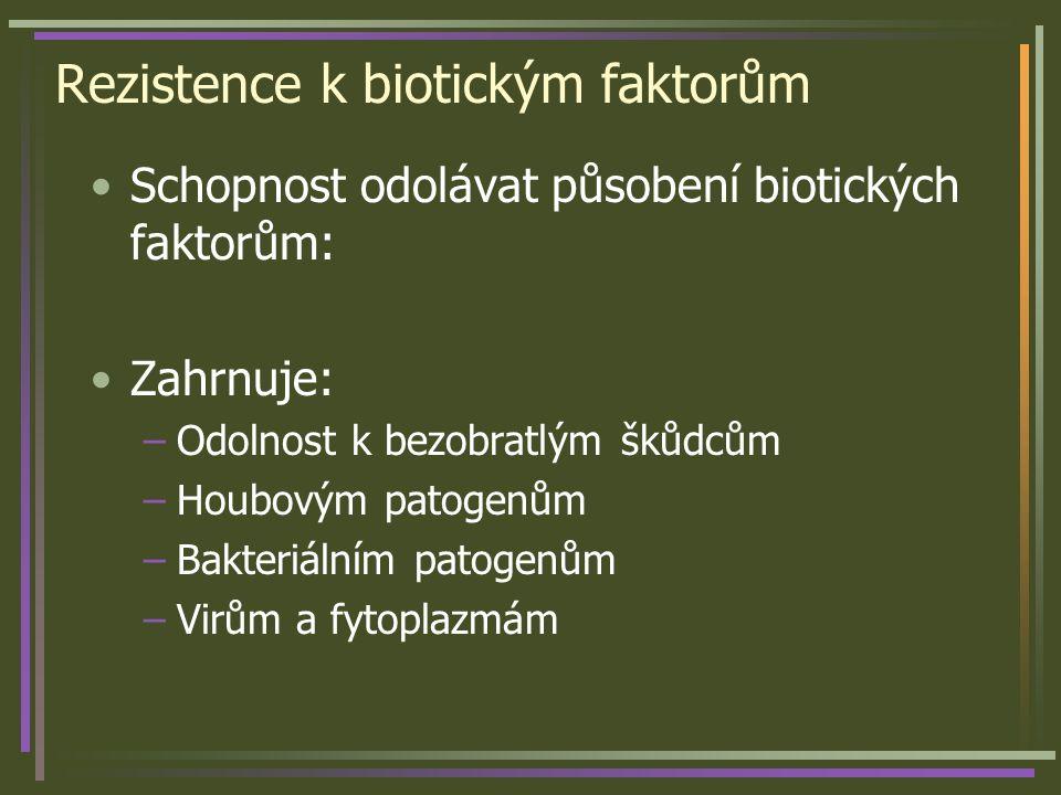 Rezistence k biotickým faktorům Schopnost odolávat působení biotických faktorům: Zahrnuje: –Odolnost k bezobratlým škůdcům –Houbovým patogenům –Bakteriálním patogenům –Virům a fytoplazmám